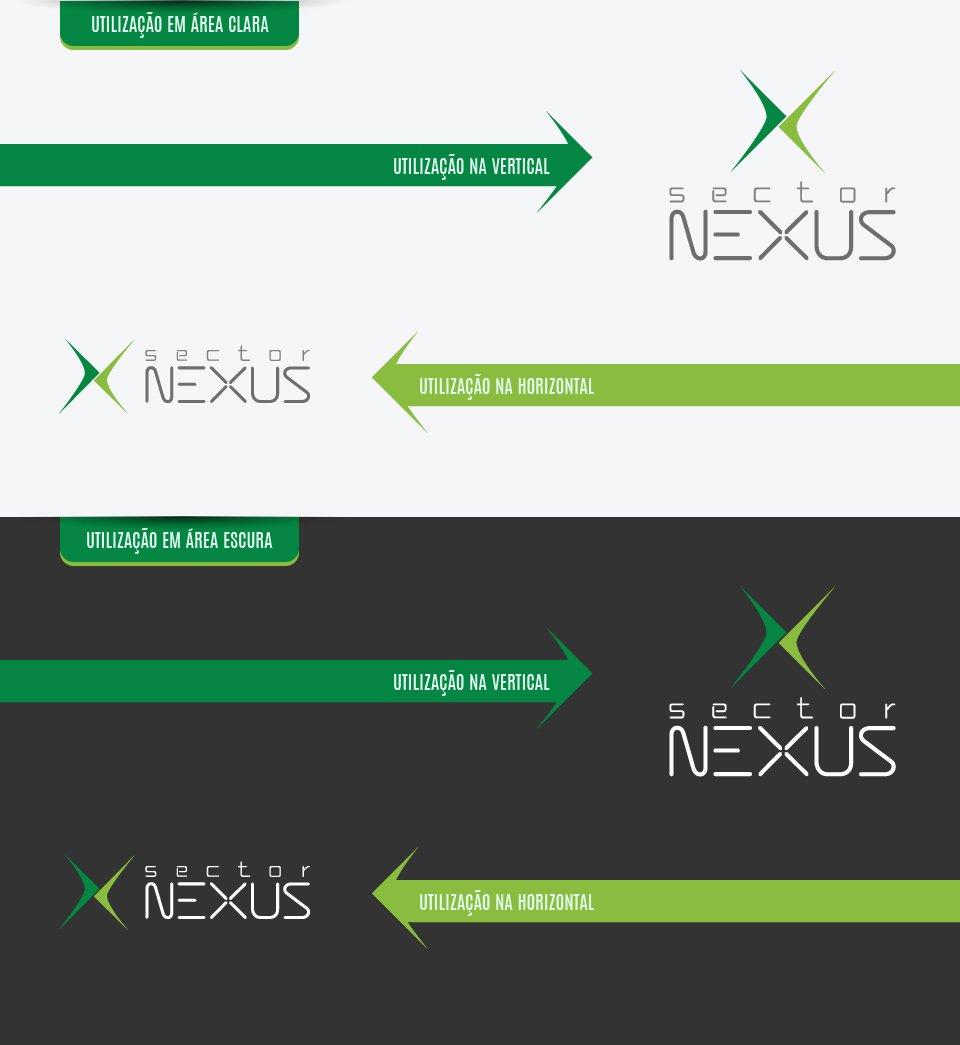 Variações do logotipo criado para a empresa Sector Nexus
