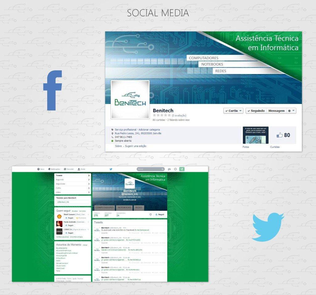 capas das redes sociais desenvolvido para a Benitech