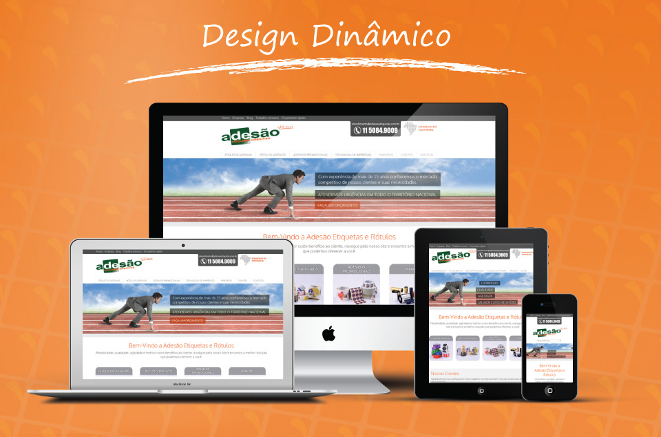 Site com design responsivo para empresa Adesão etiquetas