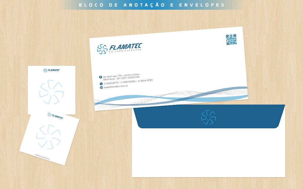 Design dos envelopes e blocos de anotações