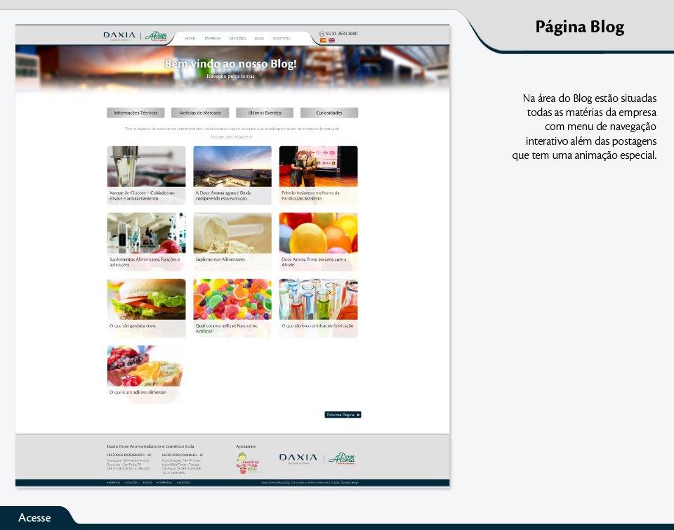 Na área do Blog estão situadas todas as matérias da empresa com menu de navegação interativo além das postagens que tem uma animação especial.