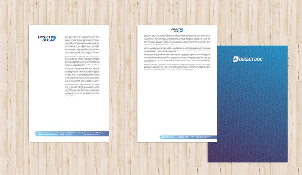 design de timbrado documento layout