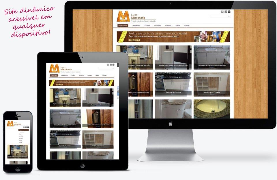 Site responsivo criado para a empresa Lucas Marcenaria