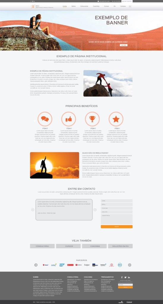 Layout páginas internas da criação do site