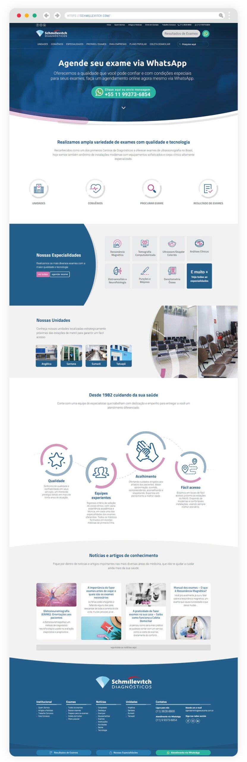 Site exclusivo, com layout moderno e inspirado na identidade visual do laboratório de diagnósticos Schmillevitch