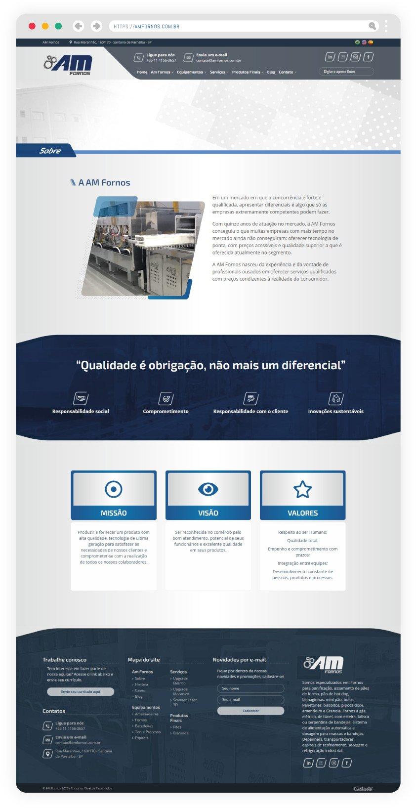 Criação de site para indústria alimentícia, com aspectos que ressaltam os valores da marca AM Fornos